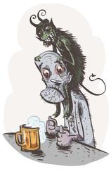 Alcoholic psychosis. Vector illustration