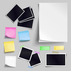 Vector set of blank paper objects. Empty white sheet of A4 format, photo frames, color sticky notes. Realistic empty paper templates with soft shadows isolated on gray background.
