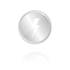 Blitz - Silber Münze mit Reflektion