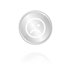 trauriges Gesicht - Silber Münze mit Reflektion
