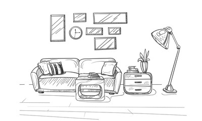 Hand drew sketch of the modern living room interior. Room interior with a couch and pillows, lamp and small coffee table. Vector illustration