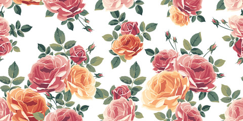 Seamless pattern with roses. Vintage floral background. Vector illustration