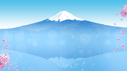 日本のシンボル富士山の見える景色、桜の花と散る花びら (画面アスペクト比16:9)