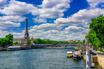 View of Eiffel tower, Pont Alexandre III and Seine river in Paris, France