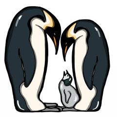 realistic   family penguin