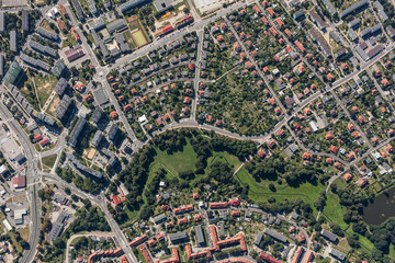 Spoed Fotobehang Luchtfoto aerial view of the city center