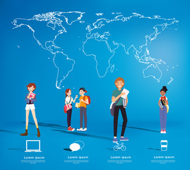 Set of students with gadgets on map background