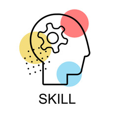 Skill icons for business on white background