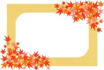 竹垣と彩り紅葉 フレーム