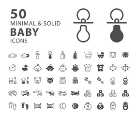 Set of 50 Minimal and Solid Baby Icons on White Background . Vector Isolated Elements