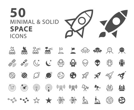 Set of 50 Minimal and Solid Space Icons on White Background . Vector Isolated Elements