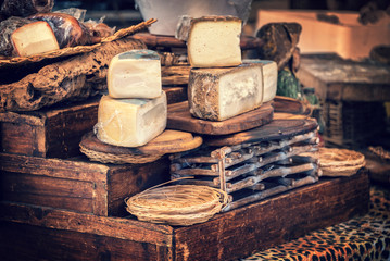 Italian pecorino cheese on a wooden rustic display