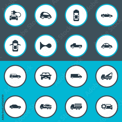 Vector Illustration Set Of Simple Transport Icons. Elements Coupe ...