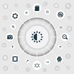 Vector Illustration Set Of Simple Photography Icons. Elements Lens, Brilliance, Rim And Other Synonyms Printer, Battery And Instrument.