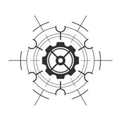 Abstract technological element with gear. Technology template.