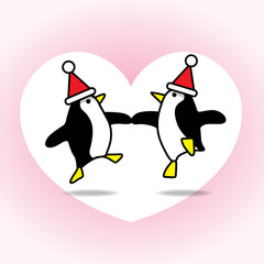 Two Dancing Santa Penguins Partying on White Heart