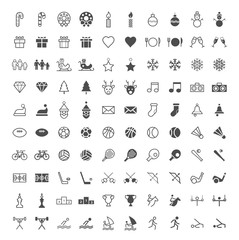 Set of 100 Minimal and Solid Sport and Christmas Icons on White Background . Vector Isolated Elements