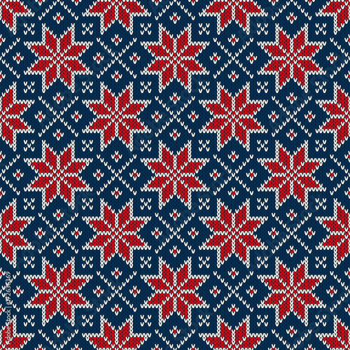 Winter Holiday Seamless Knitted Pattern With A Snowflakes Blue Red