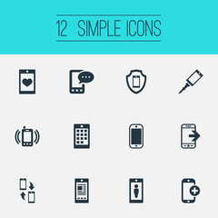 Vector Illustration Set Of Simple  Icons. Elements Front Camera, Media, Save And Other Synonyms Save, Screen And Visrus.