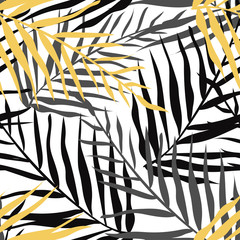 Tropical leaves seamless pattern. Jungle black and golden print. Vector hand drawn illustration.