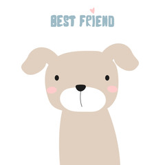 Cute little puppy. Best friend phase. Vector hand drawn illustration.