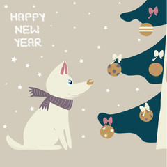 Christmas holiday card with cute white dog. Vector hand drawn illustration.