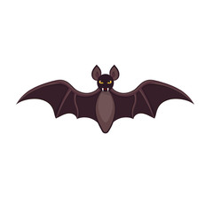 Flying Bat isolated on white background. Vector illustration for Halloween.
