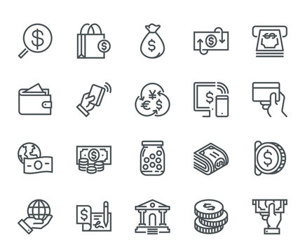 Money Icons,  Monoline concept