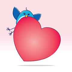 Cute Bluebird carrying a Big Red Heart