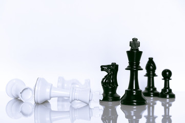 Black and White of Chess on white background . Leader and teamwork concept for success.