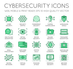 Cyber Security Thin Line icons set. Computer network protection. High Quality Premium outline symbol collection. Stroke vector logo concept.Cybersecurity.