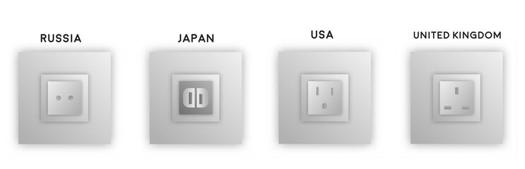 Vector design various black grey electrical outlet power socket types. UK, Japan, USA types