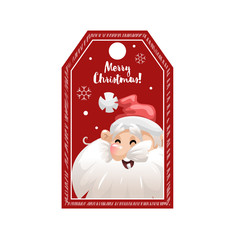 Cartoon looking red Christmas tag or label  with laughing Santa Claus in hat. Xmas gift tag, invitation banner, sale or discount poster.