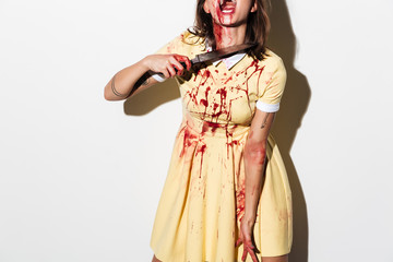 Cropped image of a zombie woman bleading