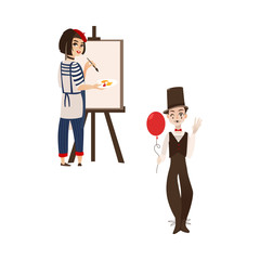 French characters, typical artist and mime, symbols of France, flat cartoon vector illustration isolated on white background. Typical, stereotypical French people, mime and artist - symbols of France