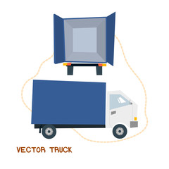 Delievery truck rear and side view cartoon style illustration vector