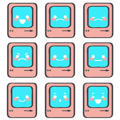Set of nine cute little emoticons expressing different emotions and feelings, vector cartoon isolated on white background