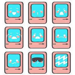 Collection of nine little pink emoticons expressing different emotions or feelings, vector cartoon isolated on white background
