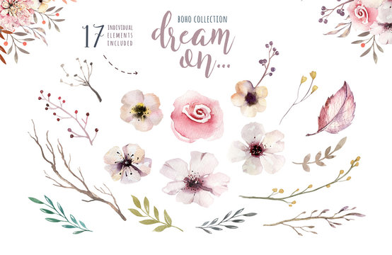 Set of watercolor boho floral foliage. Watercolour bohemian natural frame: leaves, feathers, flowers, Isolated on white background. Artistic decoration illustration.