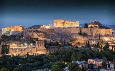Fototapete - Der Parthenon Tempel auf der Akropolis von Athen am Abend in Griechenland