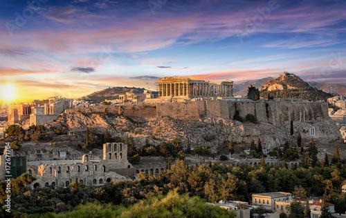 Fotomurales Die Akropolis von Athen, Griechenland, bei Sonnenuntergang
