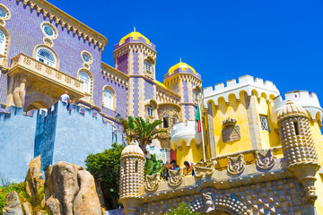 Beautiful architecture of Pena palace in Sintra town, Lisbon - Portugal