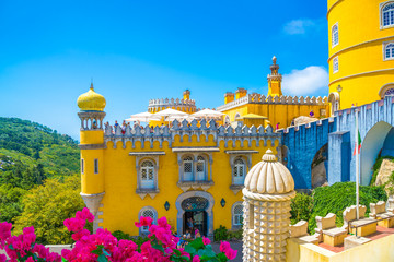 Beautiful close view of historic architecture of Pena palace in Sintra region in Lisbon