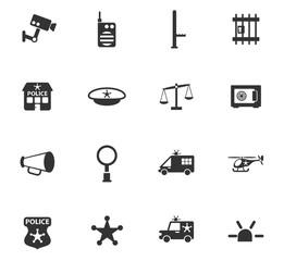 police department icon set