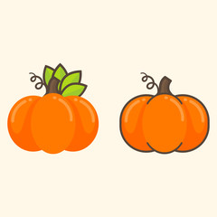 cartoon cute pumpkins set