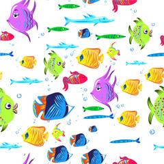 Fishes seamless pattern. Cute cartoon aquarium fish animals background for kids vector illustration print