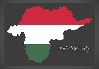 Borsod-Abauj-Zemplen map of Hungary with Hungarian national flag illustration