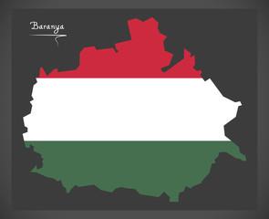 Baranya map of Hungary with Hungarian national flag illustration