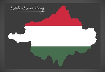 Szabolcs-Szatmar-Bereg map of Hungary with Hungarian national flag illustration