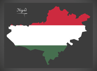 Nograd map of Hungary with Hungarian national flag illustration